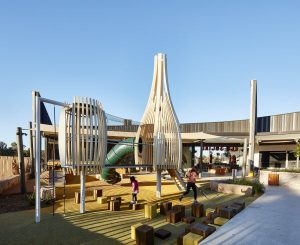 A playground made of wooden
