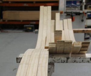 Accoya wood place in a bench inside a warehouse